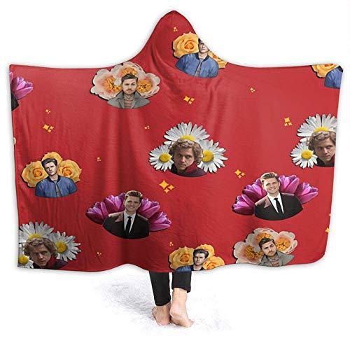 XCNGG Manta con Capucha Hooded Blanket Throw Aaron Tveit Super Soft Sherpa Fleece Blanket Hood Poncho Cloak Cape