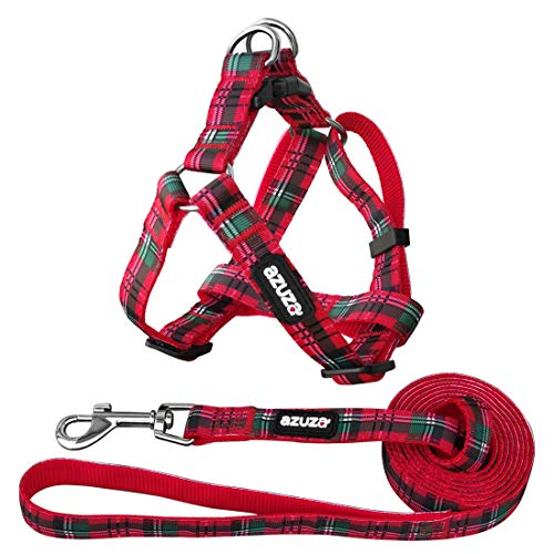 azuza Dog Harness and Leash Set, Basic Step in Puppy Harness, No Pull Dog Harness for Small and Medium Dogs, Red Plaid