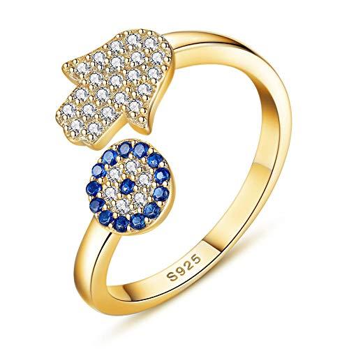 LXLLXL Offene Ringe Für Damen,Vintage Einstellbare Open Golden Einstellung Blau Böse Auge Fatima Hand Weihnachten Geschenk Schmuck Für Hochzeit Verlobung Party Frauen Männer Paare