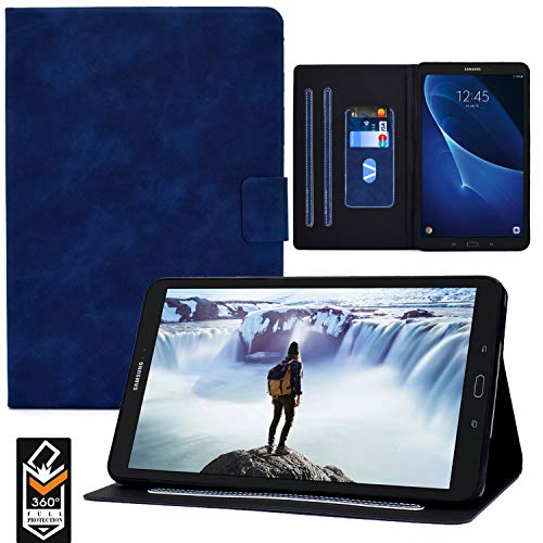 Galaxy Tab A 10.1 T580 Case,RASUNE PU Leather Flip Stand Multiple Viewing Angles Card Slot Cover with Auto Sleep/Wake Feature Case for Samsung Galaxy Tab A 10.1' SM-T580/ T585/T587 -Blue
