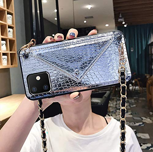 QfireQ Funda Cordón para iPhone 11/11 Pro / 11 Pro MAX con Secreto Ranura Tarjetas Bolsillo Anti Choque Iridiscente Crossbody Funda,Plata,11 Pro MAX