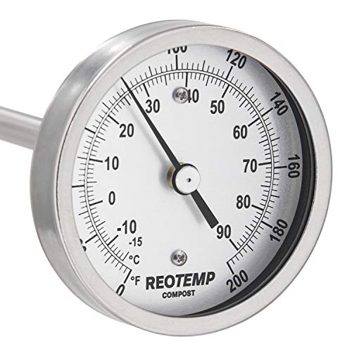 REOTEMP Heavy Duty Compost Thermometer - Fahrenheit and Celsius (36 Inch Stem), Made in The USA