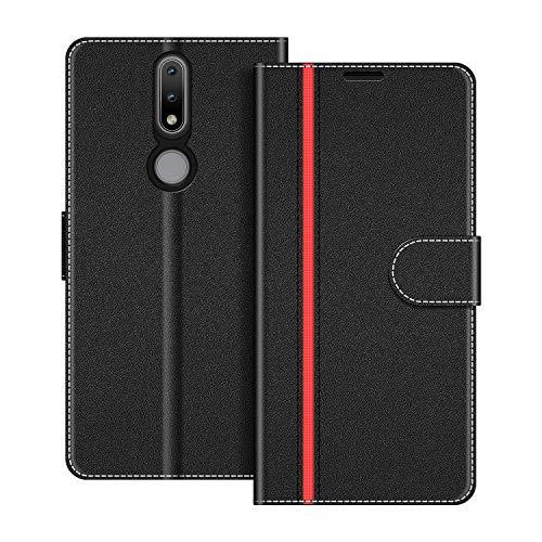COODIO Handyhülle für Nokia 2.4 Handy Hülle, Nokia 2.4 Hülle Leder Handytasche für Nokia 2.4 Klapphülle Tasche, Schwarz/Rot