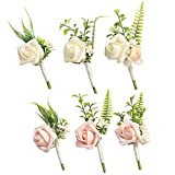 Ling's moment Blush & Ivory Boutonniere for Men Wedding with Pins, Set of 6, Groom and Best Man Boutonniere for Wedding Ceremony Anniversary, Formal Dinner Party and French Fall Vintage Wedding