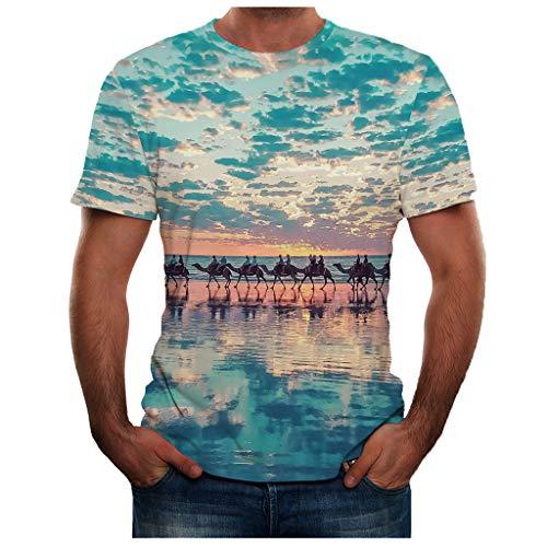 t Shirt Uomo Divertenti T Shirt Plus Size Summer New Full 3D Printed Maglietta da Uomo Stampata (XXL,17- Blu)