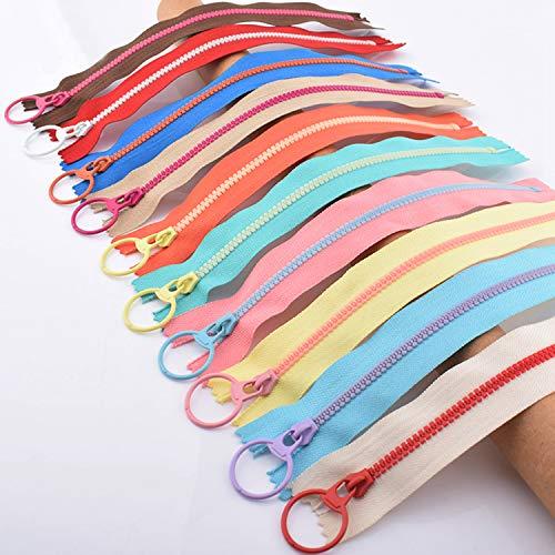 Hossom Cremalleras de Resina, 20 piezas 20 CM Cremalleras de Colores con Anillo de Metal, Cremalleras de Costura para Coser Manualidades (10 colores)