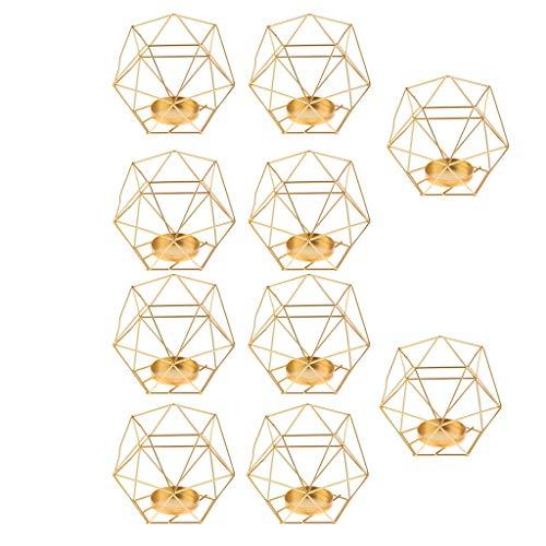 FLAMEER 3D Geometrischer Kerzenst?nder Kerzenhalter Gold Teelichthalter Hochzeit Dekoration - 10 St¨¹ck