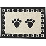 PetRageous 10249 Paws Jumbo Tapestry Dog and Cat Non-Skid Machine Washable Placemat for Pet Feeding Areas with Rubber Backing 18-Inch by 28-Inch for Dogs and Cats, Black and Natural