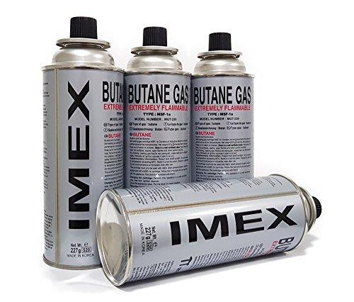 4 Stück, Gaskartuschen für Gaskocher, Butan Gas Imex, MSF-1a, 227g