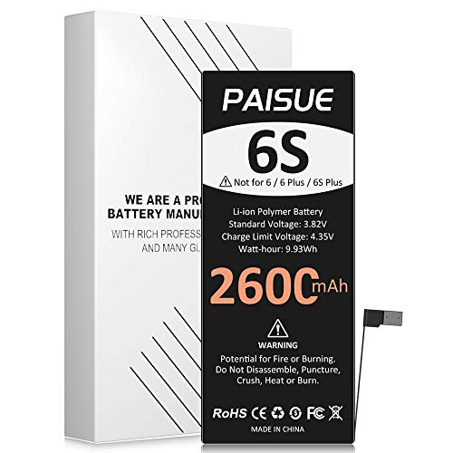 Battery for iPhone 6S, 2600mAh New 0 Cycle Higher Capacity Replacement Battery for iPhone 6S Model A1633 A1688 A1700 (no Tools)