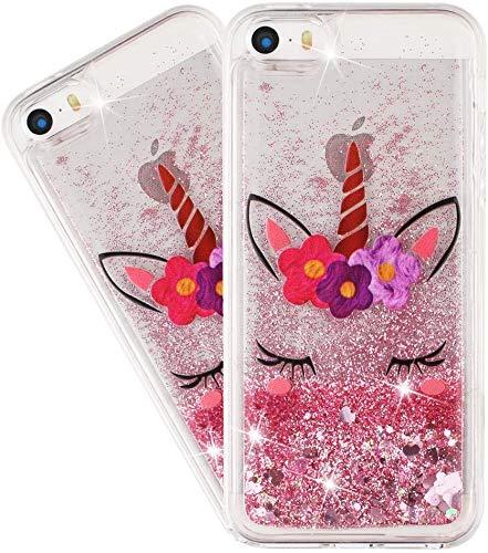 IMEIKONST Compatibile con iPhone 5 Liquido Custodia, Bello Glitter Brillante Floating Sabbie Mobili Trasparente Silicone TPU Protettivo Custodia per iPhone 5S Bling Eyelash Unicorn XY