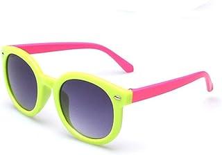 QPRER - Gafas De Sol,Verde Acrílico Diseño Popular Gradiente Espejo Clásico Niña IR De Compras Calle Gafas De Sol Verano Niños Diario Al Aire Libre Gafas Niño Playa Fiesta UV Cumpleaños Regalo del