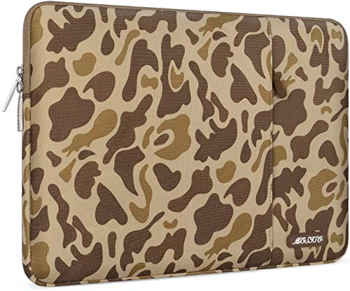 MOSISO Laptop Sleeve Compatible with 13-13.3 inch MacBook Pro, MacBook Air, Notebook Computer, Water Repellent Polyester Vertical Carrying Case Cover Bag with Pocket, Brown Giraffe Spots