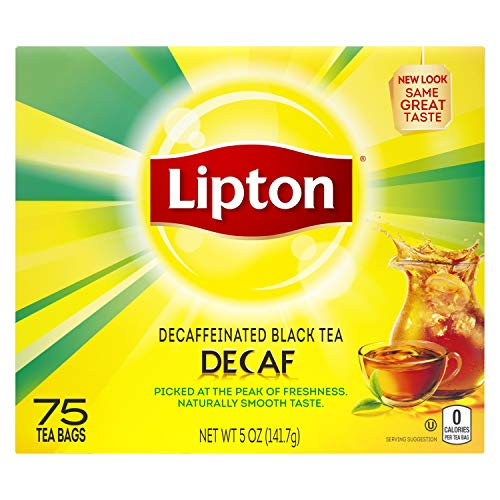 Lipton Black Tea Bags for a tea without caffeine Decaffeinated picked at the peak of freshness 75 Count, Pack of 2