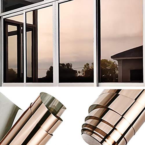 TTMOW Sichtschutzfolie Fenster, Spiegelfolie Selbstklebend, One Way Spiegel Reflektierende Fensterfolie, 99% UV-Schutz, 85% Sonnenschutz Wärmeisolierung, für Zuhause und Büro (Gold, 90 x 400cm)