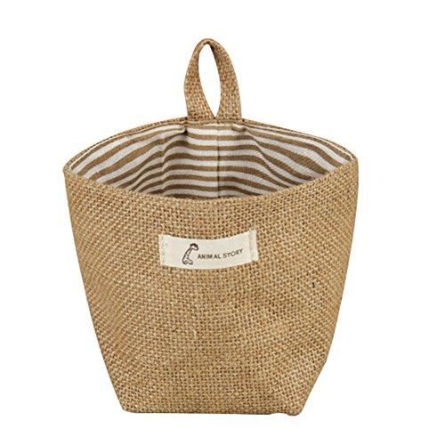 Panier de rangement Bigboba - Simple - En coton et lin - Avec fixation murale - Petit sac de rangement pour pot de fleurs - 14 x 12,5 cm, Coton et lin, coloré, B