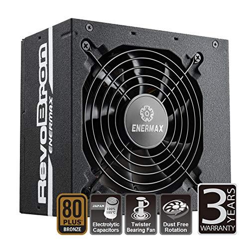 ENERMAX REVOBRON ED.2 ATX Gaming PC Netzteil 600W 80Plus Bronze (Teilmodulares Kabelmanagement mit Flachbandkabel) 7fach Schutzschaltung, ERB600AWT-EDT2, schwarz