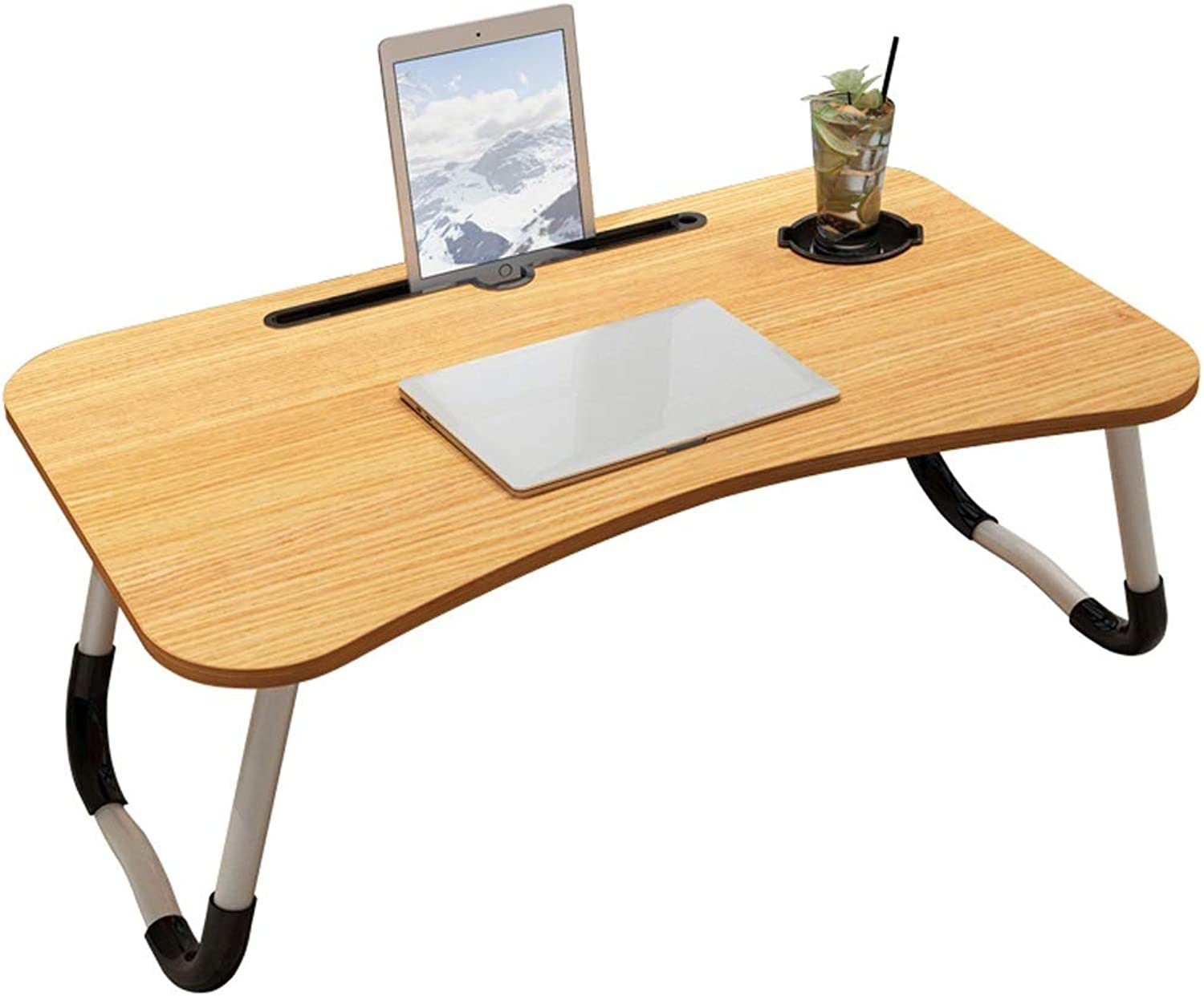 Simple Computer Desk Bed Desk Folding Dormitory Home Multi-Function Living Room Portable Desk Lazy Table Student Table (60x40x28CM)