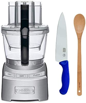 Cuisinart FP12DC Elite Collection 12-Cup Food Processor (Die Cast) with Bamboo Spoon and Chef Knife Bundle (3 Items)