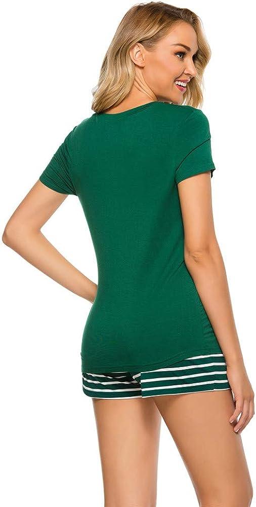 XGDong Pajamas for Women Shorts Set Sleepwear Short Sleeve 2pcs Pjs Cotton Cute V Neck Loungewear Pijamas Set Summer