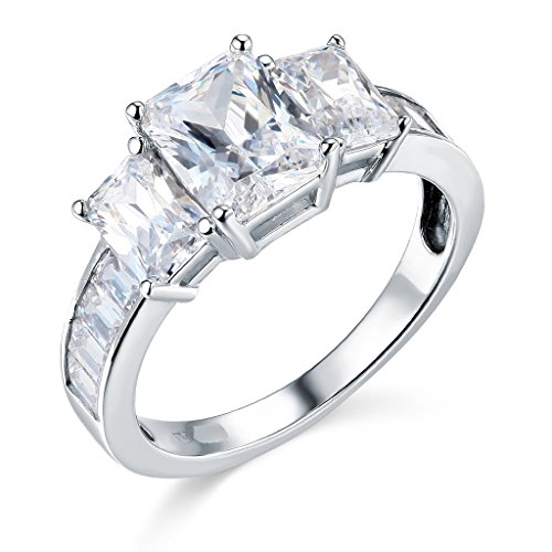 The World Jewelry Center .925 Sterling Silver Rhodium Plated Wedding Engagement Ring - Size 8