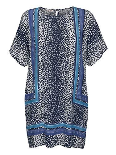 Alba Moda Damen Tunika Halbarm in Marineblau aus Viskose im trendigen Mosaik-Dessin Allover