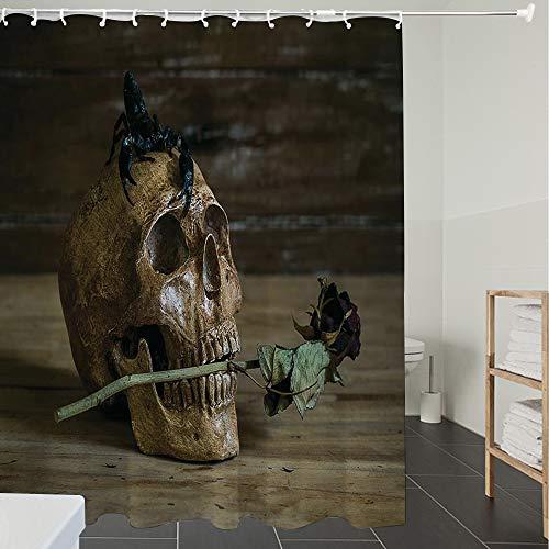 Duschvorhänge, Textil Bad Vorhang aus Polyester, Anti-Schimmel, Gothic Dekor, Stillleben Totenkopf und Rose Periods mit einem Skorpion auf dem Ko,Blickdicht, Wasserdicht, Waschbar, 180X200cm