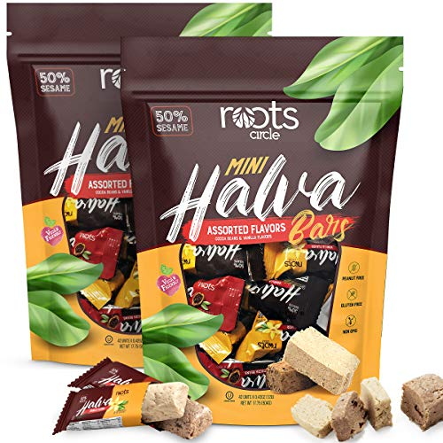 Roots Circle Mini Halva Candy Sesame Tahini Bars | 2 Pack Bulk Re-sealable Bag |Made of 50% Sesame| Cocoa Bean & Vanilla Flavors | 84 Individually Wrapped Halvah Pieces | Kosher, Gluten-Free