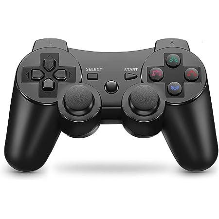 Controller wireless per PS3, gamepad Dual Shock ad alte prestazioni per Playstation 3 con cavo di ricarica (Black)