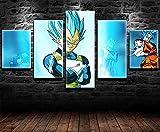 REWE Pintura de decoración del hogar Póster de animación de Dragon Ball-A_100 × 55CM 5 Partes Impresas en Lienzo no Tejido, Arte de Pared, Imagen gráfica, fotografía, decoración