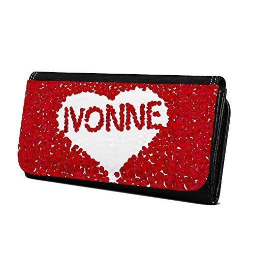 Geldbörse mit Namen Ivonne - Design Rosenherz - Brieftasche, Geldbeutel, Portemonnaie, personalisiert für Damen und Herren