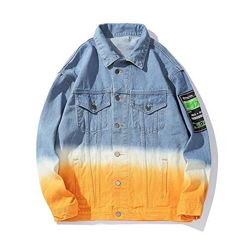 XIELH Motor Gradient High Street Jeans Jacket Losse Casual Plus Size Windbreaker Denim Jas Hip Hop Jeans