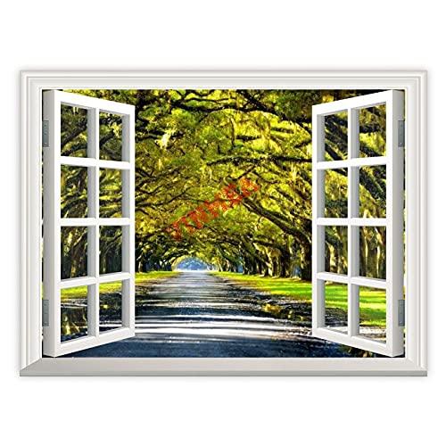 3D-väggkonstmålningar fönster tittar ut, ekträd som bildar en baldakin ovanför södra vägen för vardagsrum väggkonst kontor väggkonst konstverk sovrum dekoration badrum hem väggdekor, 30 x 40 cm