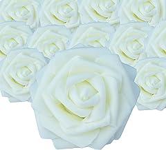 "HEBE 50pcs Artificial Roses Flowers 3.1"" Real Looking Fake Roses Heads Bulk Foam.."