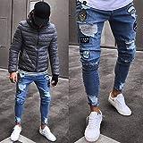 Pantalones Jeans Vaqueros Skinny Jeans Hombres Streetwear Jeans Homme Hip Hop Agujero Roto Pantalones Lápiz Masculinos Pantalones De Motorista Pantalones A Rayas XXL Azul