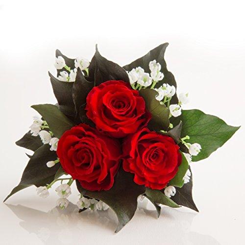 Rosemarie Schulz Blumenversand Blumenstrauß mit exklusiven, konservierten langhaltenden Rosen Brautstrauß für Hochzeit und Heirat GmbH Heidelberg (3 Rosen, Rot)