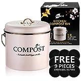 Kitchen Compost Bin 9 Bonus Charcoal Filters | Vintage Rustproof | Large Size