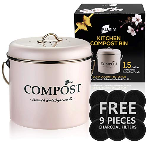 Great Price! Kitchen Compost Bin 9 Bonus Charcoal Filters | Vintage Rustproof | Large Size 1.5 Gallo...