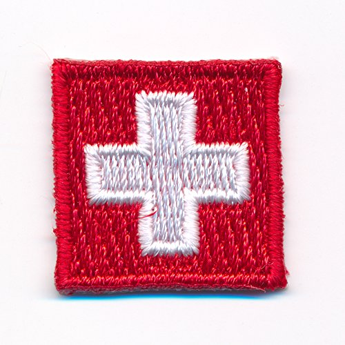 20 x 20 mm Schweiz Flagge Switzerland Flag CH Patch Aufnäher Aufbügler 0923 Mini