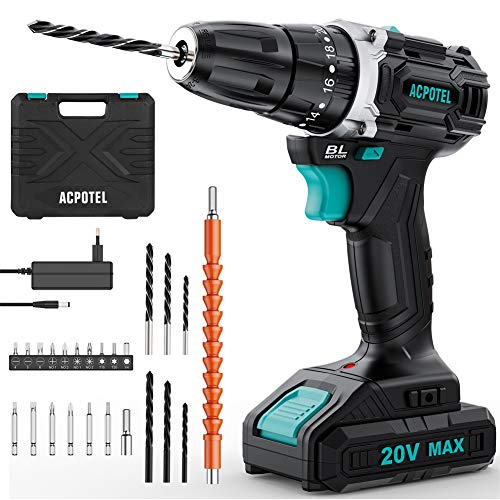 Brushless Drill, ACPOTEL 20V Max Cordless Drill Driver, Impact Drill Set with 38 Nm Torque, 3/8 inches Keyless Chuck, 20+3 Clutch, 1500mAh Lithium-Ion Battery & Charger, 24 pcs Drill Bits