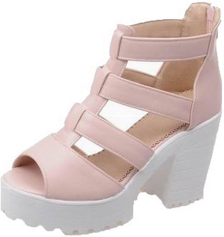 AllhqFashion Women's High-Heels Pu Solid Buckle Open-Toe Sandals, FBULD014121