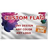 UnitePlus Double Sided Custom Flag 3x5 Ft Inside/Outside- Print Any Design/Color/Word – Opaque and Two Side Independent Design-Vivid Color-Brass Grommets