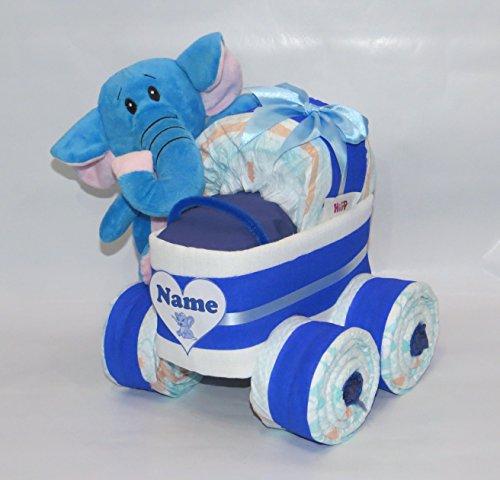 Windeltorte - Windelkinderwagen XL-Reifen Elefant blau