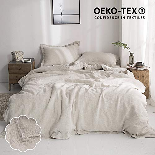 Simple&Opulence 100% Washed Linen Duvet Cover Set 3 Piece Home Bedding Sets with Button Closure(Linen,King)