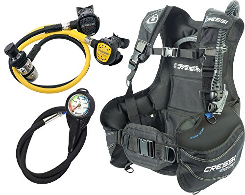 Cressi Start Set de Buceo B.C. D y Regulador Plus Pulpo INT-Negro, Medio, Unisex Adulto, M
