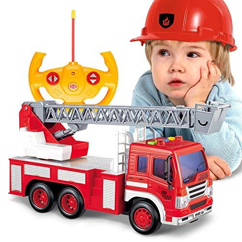 Darenbp Juguete RC para niños Control Remoto Coche de Bomberos de Extensión de Escalera Carro de RC de Juguete eléctrico con el Coche Extensible Escalera de Bomberos del Bombero luz y el Sonido de la