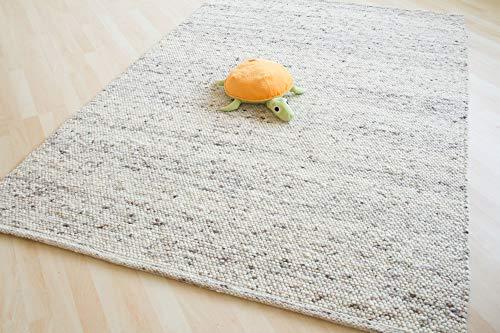 Steffensmeier Handweb Teppich Olymp | gewalkte Schurwolle, handgewebt, 70x130 cm