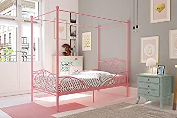 DHP Metal Canopy Bed with Sturdy Bed Frame - Twin Size  Pink
