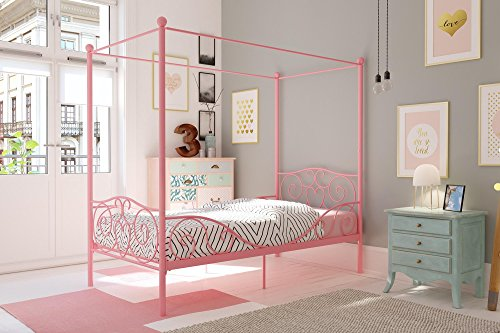 DHP 4020759 Canopy Bed with Sturdy Bed Frame, Metal, Twin Size - Pink