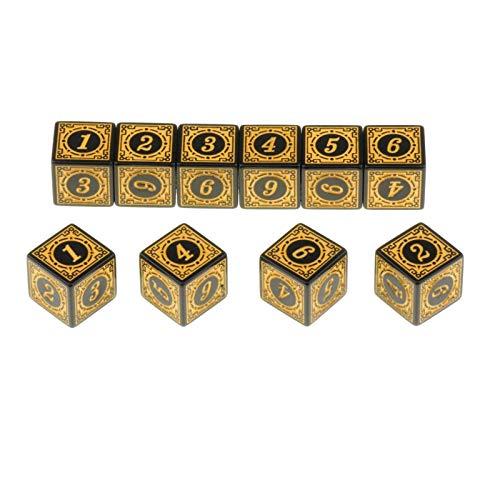 weichuang 10 dados de acrílico D6 de múltiples caras para tablero de mesa de juego de rol (color: amarillo)